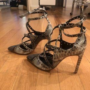 Zara Snakeskin Strappy Heels